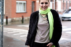 Fluo touch 1 (MartaCanga) Tags: martacanga marta brussels belgium city street style streetstyle fashion fashionphotography photography photos pictures urban outfit look dayoutfit girl woman beauty portrait people model modelling pose posing colours black fur fakefur fauxfur faux fake blackjeans blackboots boots jeans silver top silvertop silvertee tee necklace hmnecklace hm neonnecklace fluonecklace wool scarf neon fluo neonscarf fluoscarf neonwool fluowool blogger