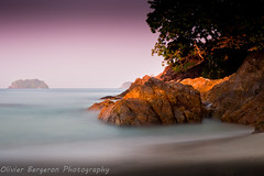 Sunrise at Lonely Beach (funkytravel) Tags: pink blue sea panorama holiday tree nature rock landscape asian thailand colorful asia asie bluegreen kohchang waterscape gulfofthailand blurmotion