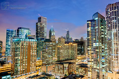 Up Above (Christopher.F Photography) Tags: city urban chicago skyline lights nikon cityscape bluehour hdr d700