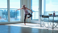 the bright side [22] (laura zalenga) Tags: life new blue light ballet woman sun window girl pose munich happy dance flat arm bright desk livingroom satisfied laurazalenga