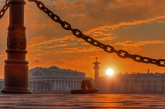 (dgaripov) Tags: old winter sunset sky sun building fence island russia stock nobody ring chain bolt column saintpetersburg exchange bollard   rostral      strelka   vasilevsky         201201