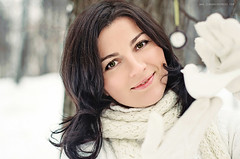 Winter for her (Strawberry Mood) Tags: park city trees winter red portrait woman white snow color girl smile face closeup forest outside day mood outdoor decoration warmth youngwoman freshness strawberrymood strawberrymoodcom tranquliy