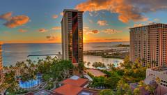 Classic Oahu (MKawano.Photography) Tags: ocean trees sunset hawaii hotel waikiki oahu palm hiltonhawaiianvillage