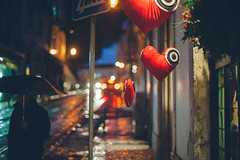 . (joannablu kitchener) Tags: portugal rain night umbrella heart lisboa lisbon streetphotography streetlife streetshot portugese