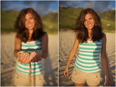 The Sands of Time (JN) Tags: park light sunset portrait woman mountains west beach girl beautiful smile happy hawaii golden coast sand nikon dof oahu good memories tan warmth yokohama shallow waianae d700 35mmf14g