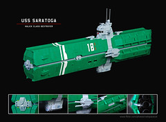 USS Saratoga (Red Spacecat) Tags: ship lego space saratoga destroyer spaceship battleship moc microspace railgun usss