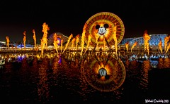 The Ring of Fire... (Ring of Fire Hot Sauce 1) Tags: reflection water fire mickeymouse disneycaliforniaadventure paradisepier worldofcolor funwheel