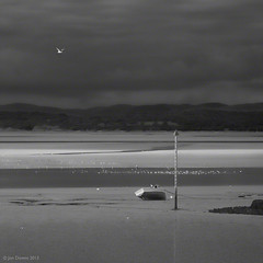 across the bay (Jon Downs) Tags: uk seagulls white black art monochrome rain digital canon downs landscape photography eos grey mono bay boat photo jon flickr artist photographer image seagull united gray picture kingdom pic hills photograph 7d morecambe jondowns