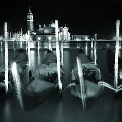 Gondolas (violinconcertono3) Tags: venice blackandwhite blur tower church water movement grandcanal gondolas davidhenderson sangiorgiomaggiore