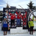 Ontario U18 GS Podium - Hallie  MacLachlan 4th, Kelly Steeves 5th PHOTO CREDIT: Aaron Speden