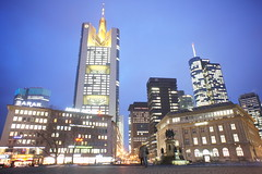 Frankfurt am Main night skyline (barnyz) Tags: city urban building tower skyline architecture night skyscraper germany am cityscape frankfurt main bank frankfurtammain commerzbank hesse maintower goetheplatz eurotower