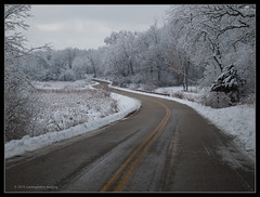 a road through winter (contemplative imaging) Tags: statepark road trees winter two usa snow cold ice nature digital america forest landscape photography photo illinois highway midwest day natural image cloudy photos curves overcast images il hills ill american covered imaging winding february friday curve snowfall curved moraine lr 43 3x4 midwestern mchenrycounty lr4 olyep2 contemplativeimaging ronzack olymz1442v1 20130208 cimisc20130208