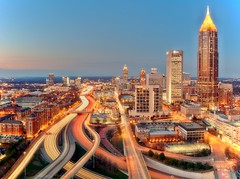 Atlanta on February 27, 2012 - for masha :) (mudpig) Tags: longexposure bridge atlanta rooftop skyline night skyscraper georgia geotagged highway cityscape overpass interstate bluehour georgiatech i75 hdr goldenhour lighttrail emoryuniversity yellowjackets mudpig traffictrail stevekelley citycscape stevenkelley bobblydoddstadium