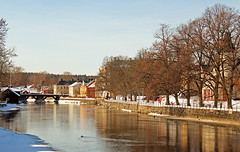 At the river (Explore) (Tim Lindstedt) Tags: old city bridge blue trees houses winter light wild sky favorite sun house inspiration snow cold color tree slr art water colors beautiful beauty sunshine weather composition digital canon river season landscape photography town frozen photo duck spring scenery warm flickr frost cityscape afternoon seasons view image sweden small scenic picture ducks sunny bluesky best photograph scenary views frame land imagination mallard sverige february dslr midday winterland mallards 2013 550d timlindstedt