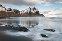 Vestrahorn (Kristinn R.) Tags: sea sky mountains reflection beach clouds iceland nikon stones vestrahorn d3x nikonphotography kristinnr