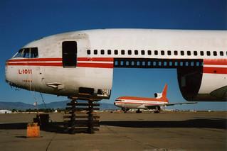 D-AERP (ex LTU) & N11004 (ex TWA) Lockheed L1011 Tristar @ Tucson 14-Oct-1998 by Johan Hetebrij