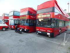 Red buses (stevenbrandist) Tags: red white bus station cover covered gibraltar terminus neoplan citibus opentopped g1781b