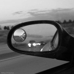 Coming Up Fast (dejavue.us) Tags: california blackandwhite mirror nikon driving desert headlights asphalt d90