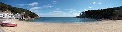 The Beach at Tamariu (fenlandsnapper) Tags: 15fav panorama beach catalonia catalunya tamariu canonpowershots100
