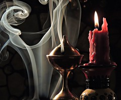 Veil of Smoke (clarkcg photography) Tags: smoke incense cantor candle red flame light veil stilllife nikoncoolpixp510 wax float swirl brass shadow indoor backlight challenge15indoorbacklight indoorbacklight challenge15 cof015dmnq