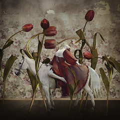 the manor of imaginary realism (brookeshaden) Tags: flowers horse texture fairytale dance tulips surrealism oldhouse squareformat decrepit tension whitehorse whimsical darkphotography fineartphotography darkart elegance woodenfloors conceptualphotography peelingwallpaper