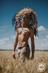 Daydream (Manuel Bally Photography) Tags: wheat asian asianman skinnyboy skin 2016 boy countryside summer indian asianboy 5dmarkiii indianheaddress feather man portrait sunny field