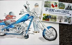 I'm Published!!! (softfurn Susan) Tags: penandink jameshobbsbook sketch drawing ink watercolor locationsketch biker motorcycle chopper