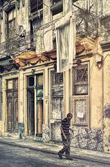 Lonely Walk 2 (Artypixall) Tags: cuba havana streetscene oldblindman urban facade doors windows building homes clotheslines decay