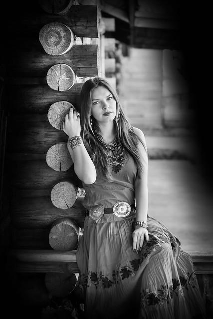 Colorado Cabin style Senior Portrait