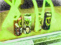 V and Graffiti (Steve Taylor (Photography)) Tags: v energy drink art digital graffiti tag window shop green black yellow red glass newzealand nz southisland canterbury cbd city lines texture face glow can empty
