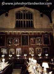 Harry Potter's Great Hall (john shortland) Tags: harrypotter great hall oxford paintings pictures panelling table chairs lamp dinner window christchurch university universities