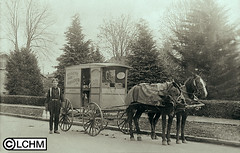 GN91 (Lane County Historical Museum) Tags: lanecountyhistoricalmuseum historicalphoto oregonhistory digitalcollection vintage horseteam horseandwagon milkman milktruck milkbottles commercialvehicle business dairy deliveryvehicle eugeneoregon