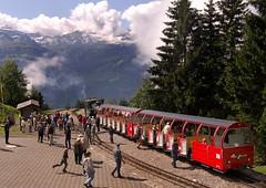 "Swiss (BRB) Brienz-Rothorn Bahn 800mm gauge Class H 2/3 rack loco No. 15 ""Stadt Kanava"" at Planalp on 11 August 2016 (A Scotson) Tags: rackandpinion rackrailway cograilway slm brienz rothorn brienzrothornbahn brb swiss steam 800mmgauge narrowgauge mountains locomotive train"