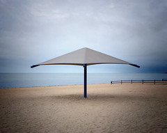 summer's end. (David J DeCenzo) Tags: beach summer season autumn ocean coast coastal umbrella sun sand desolate