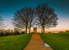 Autumnal Tower (spiderstreaky) Tags: landscape green fresh dxo morning beacon path horizon sunrise sunup fall tower dawn historic sun grass worcestershire high season wildlife british tree lookout sunshine trees footpath architecture yellow top cold d7100 english detail broadway beauty clear goldenhour nikon blue golden beautiful nature clouds light cotswoldway cotswolds folly orange countryside exposure