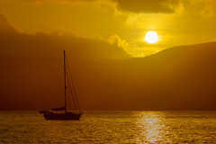 Fitzroy Island Sunset (robertdownie) Tags: sky sunset mountains boat sail island blue sun clouds ocean sand australia dusk queensland tropical sailboat fitzroy reef fnq welcome bay cape grafton passage