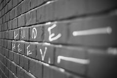 Leading Lines (belleshaw) Tags: blackandwhite downtownla laartsdistrict brickwall graffiti tag lines letters vanishingpoint detail bokeh