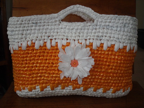 crocheted plarn tote bag
