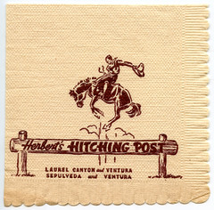 Herbert's Hitching Post (jericl cat) Tags: horse west illustration vintage paper logo typography restaurant design cowboy post napkin style ephemera cocktail valley printing western type bronco sanfernando rider ventura hitching sepulveda bucking laurelcanyon herberts