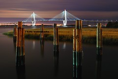 River Guards (gatorinsc) Tags: bridge night river point photography arthur photo mt south jr cooper carolina yorktown patriot uss pleasant ravenel
