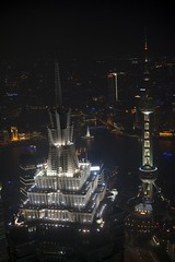 Jin Mao Building and Oriental Pearl Tower as seen from the SFWC at night (basair) Tags: world china panorama building tower architecture night skyscraper observation lights view shanghai jin smith center william deck mao adrian pudong financial rtw mori pedersen