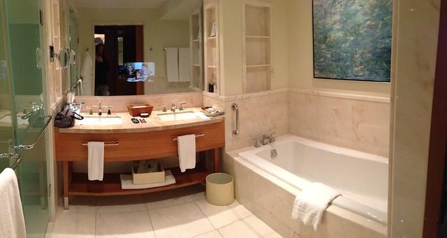 Ritz-Carlton bathroom with a TV in the mirror