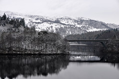 View from my balcony... (magaroonie) Tags: snow reflections perthshire bridges pitlochry lochfaskally greenparkhotel