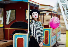 (Ole Lukoie) Tags: park portrait game art nature girl smile face train funny artist play balloon makeup mime pantomime act         aktau