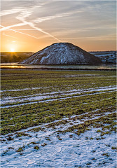 Silbury Dawn - Portrait (Chris Beard - Images) Tags: morning blue winter sky orange white snow color colour green yellow sunrise landscape dawn ancient colours january historic worldheritagesite fields wiltshire nationaltrust neolithic silburyhill silbury ancientmonument