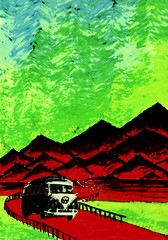 The trip (softfields) Tags: world life road trip pink flowers blue red sky music mountain plant mountains bus green art love nature mushroom water glass car rock sex hippies kids river painting