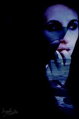 OUI/NON (AYUMI-TURQUOISE) Tags: blue sea portrait selfportrait black photoshop landscape turquoise federica postproduction ayumi pagano