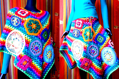 Crochet Poncho / Skirt - Rainbow Granny Stripes With Go Crochet Motifs And Doilies