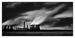 Fiddlers in the dark (Gary Rowlands) Tags: leica sky bw monochrome digital landscape mono energy power nightshot cheshire northwest memories electricity february powerstation connections runcorn widnes michaelkenna rivermersey nationalgrid wheretogo 2013 michaelkennalivedhere