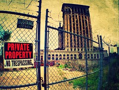 No trespassing (falseverdict) Tags: old summer urban building architecture mi vintage fence private industrial michigan urbandecay detroit wideangle explore barbedwire mcs trespassing iphone urbex corktown michigancentralstation michigancentralterminal iphoneography savethedepot iphone4s olloclip laurenpaljusaj